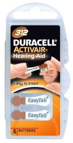 Duracell - Hörgerätebatterien - EasyTab Langlebige 1,4-Volt Zink-Luft-Batterien - Größe 312 - Sichtverpackung mit 6 Stück - Braunes Etikett