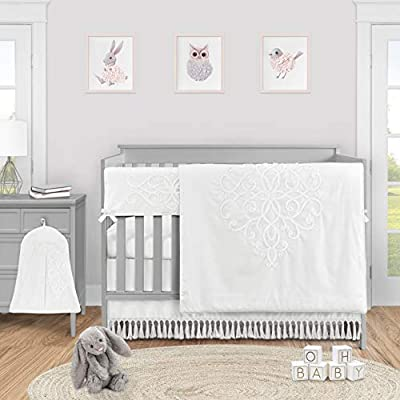 Sweet Jojo Designs White Boho Bohemian Baby Girl Nursery Crib Bedding Set - 5 Pieces - Solid Color Shabby Chic Princess Luxurious Luxury Elegant Vintage Designer Boutique Victorian Cotton Embroidered