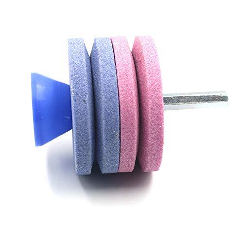 SIWEI Afilador de cuchilla para cortacésped, 4/2 capas, afilador de hoja de montaje universal, kit de rueda de molienda universal para cualquier taladro eléctrico y taladro manual