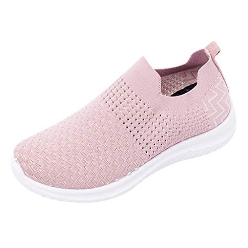 Mocassins Chaussures Femme Ete Pas Cher Soldes Baskets Basses Running Jogging Sport Confortable Respirant Mesh Chaussette Fille Loafers