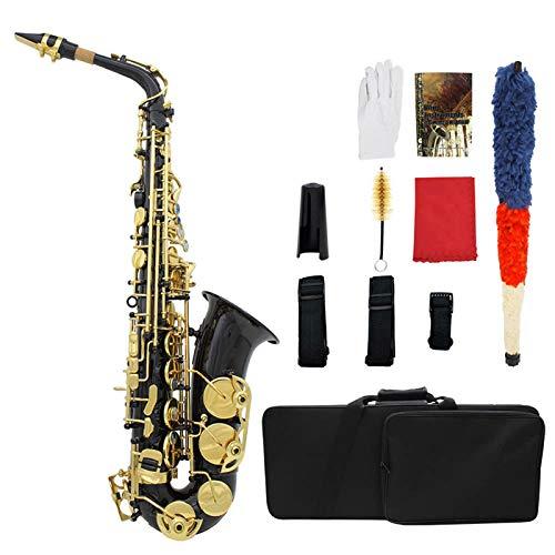 ammoon Saxophon Eb e-flat Hoch Messing Gravur Tasten Shell des Olmo Blasinstrument mit Etui Reinigungstuch Fett Gurt Bürste
