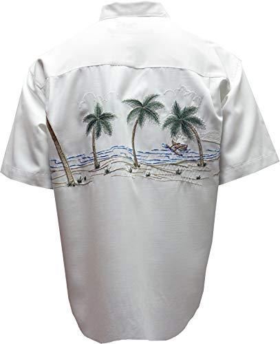 대나무 케이 남자 팜 탈출 열대 스타일 버튼 프론트 자수 캠프 셔츠