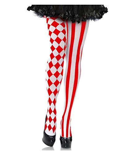 Horror-Shop Rot-Weiße Clowns Strumpfhose für Damen