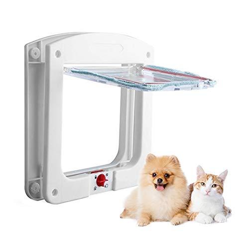 JOJYO Katzenklappe,Katzenklappe Fliegengittertür Haustierklappe für Katzen und Kleine Hunde 4 Wegeverschluss Katzentüre(Weiß, S)
