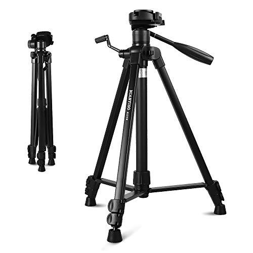 Handy Kamera Stativ, Aluminium-Leichtbau und Kompaktes Smartphone Dreibeinstativ für Smartphone DSLR Canon Nikon Sony Olympus mit Handy Halterung Tragetasche (BJ-558)