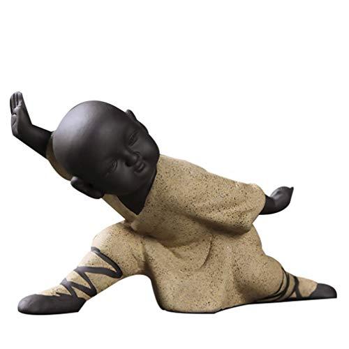 IMIKEYA Mini Mönch Ornamente Kung Fu Buddha Statue Tee Haustier Zen Garten Tee Tablett Figur für Kung Fu Tee Tablett Auto Home Desktop Dekoration (Gelb)