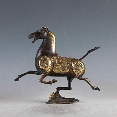 FTFTO Equipo Vivo Estatua Cabeza Esculturas Colección Caballo de Cobre Dorado Golondrina Correr como la Estatua del Viento