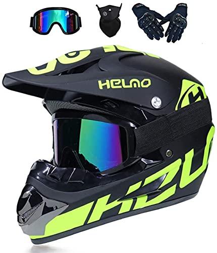 Casco de Motocross, Casco MTB de cara completa Conjunto de guantes de máscara de gafas, para bicicletas en la bicicleta en la bicicleta de suciedad de la bicicleta Casco de crash de cara completa verd