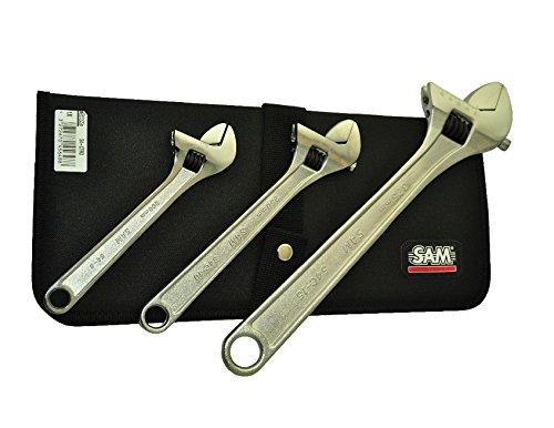 SAM Outillage 54-CTR3 Jeu de 3 clés à molette en trousse