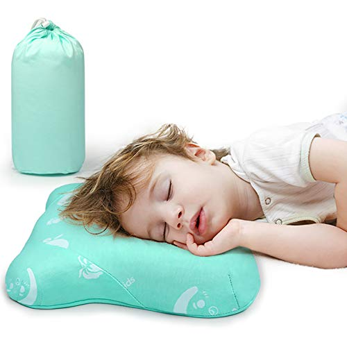 """Toddler Pillow for Sleeping, Small Nap Pillow for Kids 15"""" x 10"""" (Green)"""