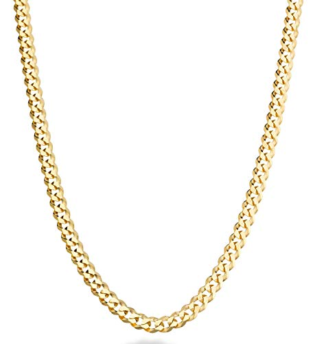 MiaBella Solid 18K Gold Over Sterling Silver Italian 5mm Diamond-Cut Cuban Link Curb Chain Necklace for Women Men, 16, 18, 20, 22, 24, 26, 30 Inch 925 Sterling Silver Made in Italy (22)