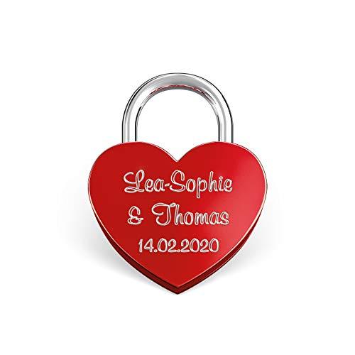 LIEBESSCHLOSS-FACTORY Kleines mini Herz-Schloss Rot mit Gravur und Schlüssel, gratis Geschenkbox uvm. Jetzt graviertes Liebes-Schloss in Herzform gestalten!
