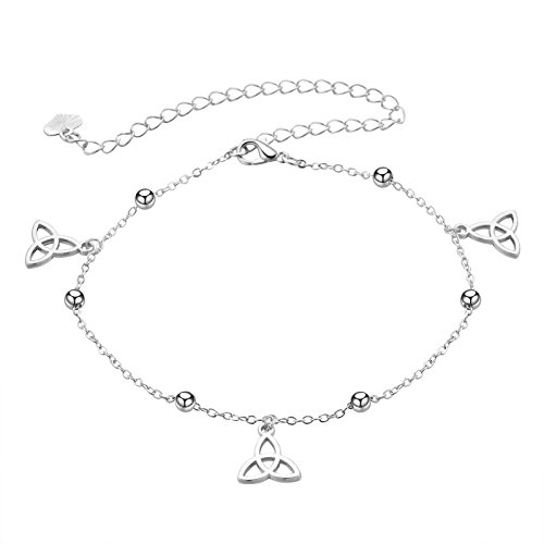 Bishilin Silver Plated Ladies Anklet Silver with Pendant Celtic Knot Ankle Chain Beach Chain Silver