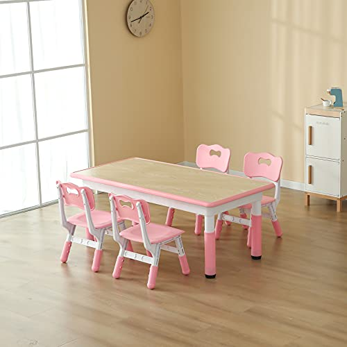 CuFun Kids Table and 4 Chairs Set, Children Study Desk, Dining Table, Height Adjustable Plastic Desk Painting Desktop Toddler Furniture for Boys and Girls (Pink-Wood Grain)