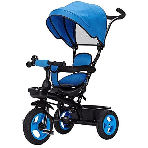 Maracos Kinderwagen Baby Kinder Pedal Trike Bike Fahrradhöhe Einstellbar Pushgriff Kinder Dreirad Kohlenstoffstahl Material Baby Kinderwagen (Farbe: rot), Farbe: gelb (Farbe: blau) (Farbe : Blau)