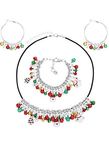 Tatuo Christmas Bell Jewelry Set Gifts for Womens Girls Christmas Bell Necklace Bracelet Dangle Hoop Earring Xmas Holiday Jewelry Set Ornament