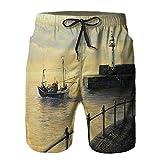 WENLISAN Bañador de Hombre,Recuerdos del Viejo Faro,Natación Secado Rápido Pantalones Cortos Shorts de Playa para Swim S