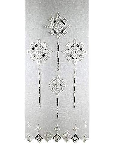 Zenoni & Colombi Coppia di Tende Ricamate Punto Antico Toscano Made in Italy (45x240cm)