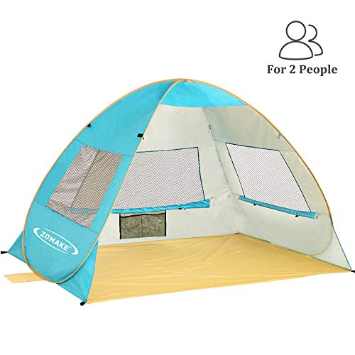 ZOMAKE Pop Up Beach Tent 2-3 Person, Lightweight Portable Sun Shelters Sun Shade Instant Tent Outdoor Cabana with UPF 50+ UV Protection for Baby, Family(Lake Blue)