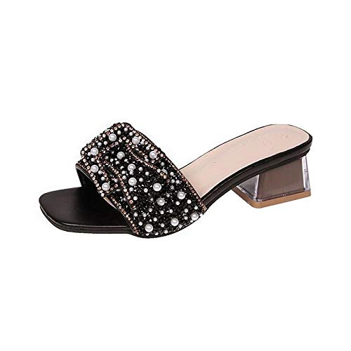 B/H Sandalias de Zapatillas con Punta Abierta Sexy,Sandalias Brillantes de Perlas de Diamantes de imitación,Zapatillas de Lazo de tacón bajo-Negro_35,Chanclas de Gran Apariencia