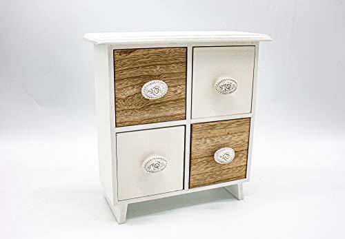 Generic Cómoda mini multiusos de madera con cajones, joyero, caja de almacenamiento, caja de madera (22 x 9 x 23 cm)