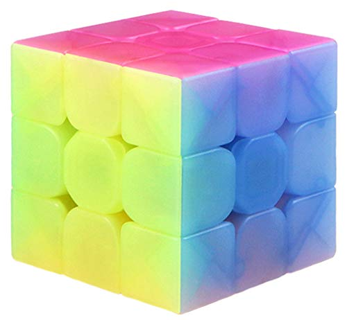 TANCH Qiyi Warrior W 3x3x3 Jelly Speed Cube Stickerless Transparent Magic Cube Puzzle Toy Colorful