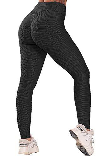 FITTOO Leggings Push Up Mujer Mallas Pantalones Deportivos Alta Cintura Elásticos Yoga Fitness #2 Negro Mediana