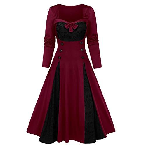 RISTHY Vestidos de Halloween Vestido de Manga Larga Vestido de Fiesta Acampanado Estampado con Calavera para Disfraz