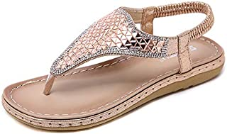 CHENDX Fashion Rhinestone Smooth Sandals Summer New Large Size Sandals Casual Beach Women's Slippers