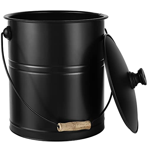 Amagabeli Ash Bucket with Lid Outdoor and Indoor Coal Bucket for Fireplace Small Fire Bucket Metal Ash Can for Grill Charcoal Bucket Essential Tools for Fireplace Fire Pit Wood Burning Stove Black