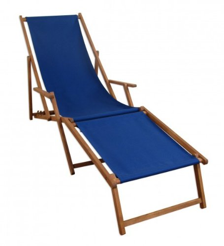 Liegestuhl blau Sonnenliege Fußteil Gartenliege Holz Deckchair Strandstuhl Gartenmöbel 10-307F