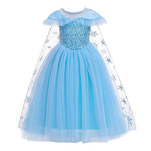 IBAKOM Mädchen Prinzessin Kleid Fee Kostüm Glänzend Pailletten Tüll Partykleid + Schneeflocke Print Kap 2 stücke Outfit Kinder Festival Karneval Cosplay Kostüm Blau 3-4 Jahre