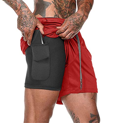 ASKSA Herren 2 in 1 Shorts Laufshorts Dual Kurze Sporthose Männer Fitness Laufhose Sport Hosen Trainingshose(Rot,M)
