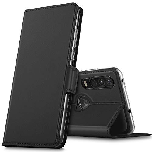 GEEMAI für Motorola One Action Hülle, handyhüllen Flip Hülle Wallet Stylish mit Standfunktion & Magnetisch PU Tasche Schutzhülle passt für Motorola One Action Smartphone, Schwarz