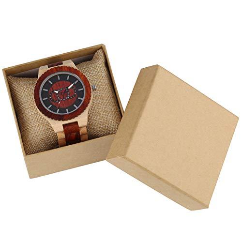 RWJFH Reloj de Madera Reloj de Madera de Arce Relojes para Hombre Reloj de Cuarzo Tres círculos Grandes Decoración Dial Reloj de Madera Reloj de Pulsera de Madera Completo para Hombre, con Caja