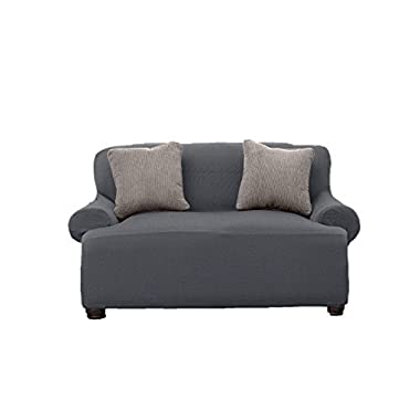Le Benton LoveSeat Cover, Stretchable, Beautiful Look, Great Protector, Highest Quality Slipcover, Grey