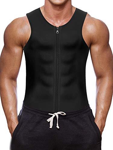 Bingrong Herren Fitness Shape Shirt Figur formend Training Achselshirts Weste Sauna Schwitzeffekt Tank Top stark formend Gym, XL, Schwarz