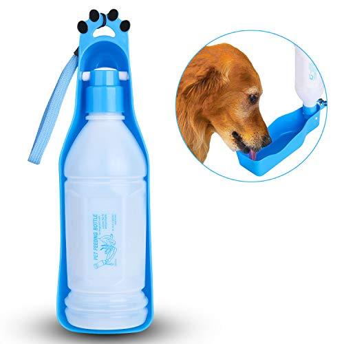 WADEO Trinkflasche Hunde, Trinkflasche Hund Für Unterwegs Klein Hunde Wasserflasche Faltbar Hundetrinkflasche Für Reise Auslaufsicher Wasserspender 350ML Blau