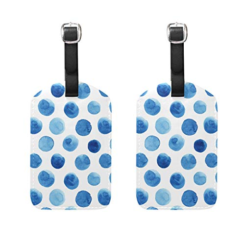 Luggage Tag for Baggage Suitcase 2 PCS Abstract Blueberry Polka Dots...