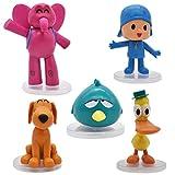 5 Piezas Pocoyo Cake Topper, Pocoyo Mini Figuras Decorativas para Tartas Mini Juguetes Pocoyo Acción Figuras para Niños y Niñas Fiesta de Cumpleaños Baby Shower