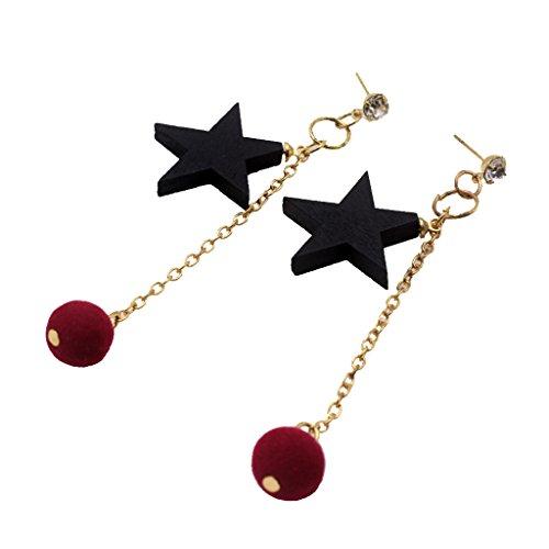 B Baosity Pendientes de Botón de Diamante Pom Pom Ball Star Pendientes Largos Colgantes para Mujer - Rojo