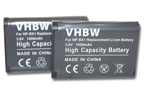 2 x batteria vhbw 1000mAh per fotocamera Sony HDR-AS15, HDR-GW66, HDR-GW66VE, HDR-GWP88, HDR-GWP88V, HDR-AS30V Action Cam, HDR-MV1 come NP-BX1