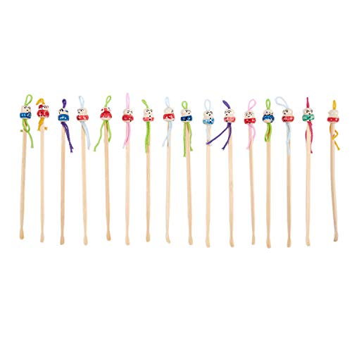 SODIAL 16 Pcs Cure-oreille en bois de couleurs assorties poupee japonais