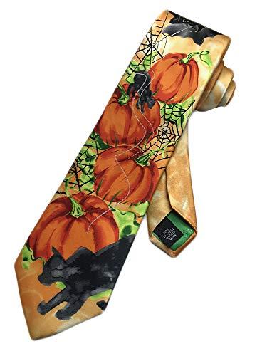 Jerry Garcia Mens Halloween Pumpkins Ghost Necktie - Orange - One Size Neck Tie