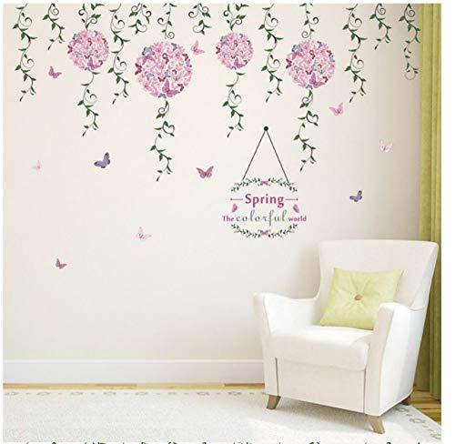 ZJMIQT Jardin de Printemps coloré Fleur Papillon Vine Mural Salon Chambre à Coucher arrière-Plan de la fenêtre TV canapé Décoration Sticker Art