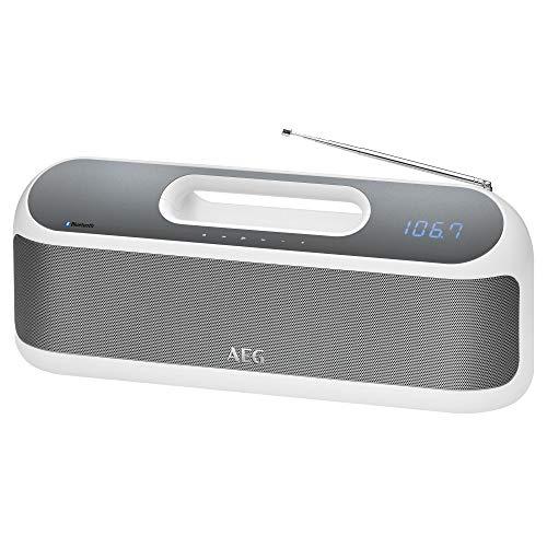 AEG SR 4842 BTS / Bluetooth-Stereolautsprecher / 2x 10 Watt / Digital Sound Prozessor / Inkl. PLL-UKW-Radio / Akku- und Netzbetrieb / USB-Port zum Laden von Smartphones / AUX-IN / Weiß