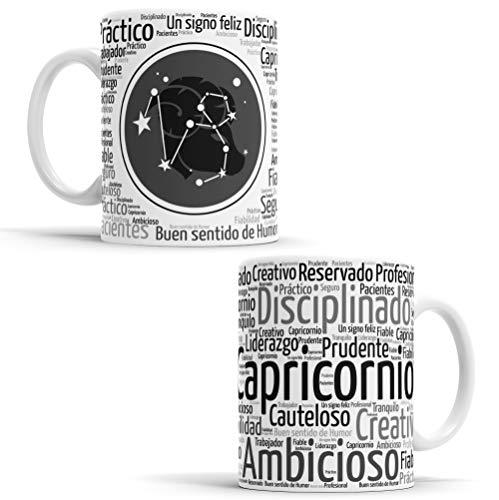Tazas Signos del Zodiaco horóscopo – Taza de café de Signo del Zodiaco – Tazas de Café y Té Horóscopo – Regalo Original para Parejas, Cumpleaños, Amigos (Capricornio)