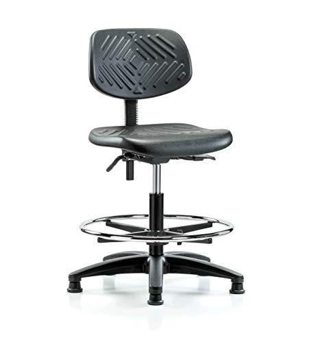 Perch Ergonomic Industrial Chair with Footring and Stationary Caps, Workbench Height