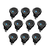AutoEC 10 Pcs Interruptores de Coche, Indicador Led Azul SPST 12 V 20 A Control On/Off, de Alta Calidad, Para Vehículos, Dispositivos Electrónicos de Barcos o Yates, Instrumentos de Medición, etc.