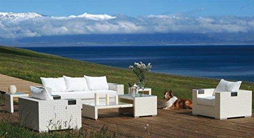 Konway & Nösinger Rattan Sitzgruppe Mersiha Garten Lounge Sofa + Sessel + Tisch Gartenmöbel weiß